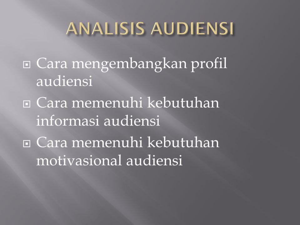  Cara mengembangkan profil audiensi  Cara memenuhi kebutuhan informasi audiensi  Cara memenuhi kebutuhan motivasional audiensi