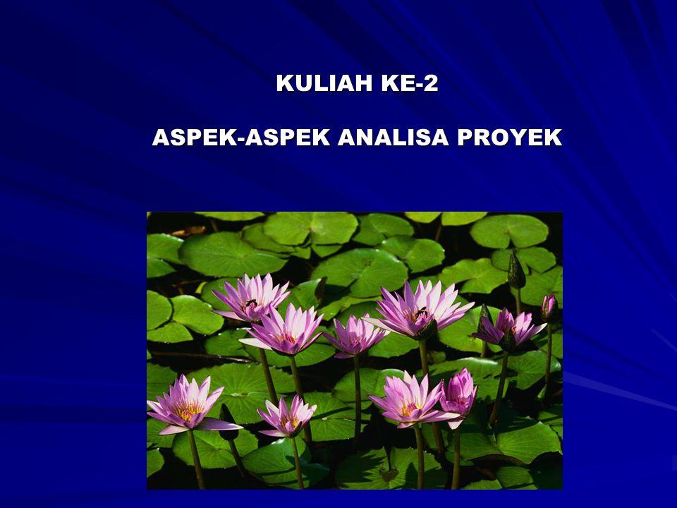 ASPEK KOMERSIAL/PASAR ASPEK TEKNIS ASPEK INSTITUSIONAL-ORGANISASI- MANAJERIAL ASPEK FINANSIAL ASPEK EKONOMI ASPEK HUKUM, SOSIAL DAN LINGKUNGAN ASPEK-ASPEK STUDI KELAYAKAN PROYEK