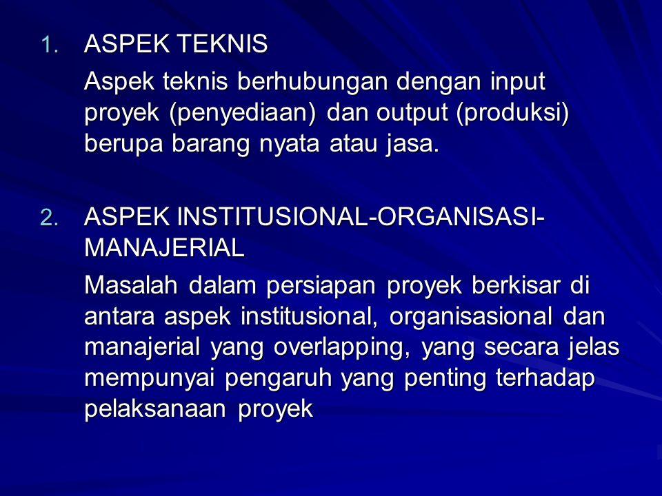 1. ASPEK TEKNIS Aspek teknis berhubungan dengan input proyek (penyediaan) dan output (produksi) berupa barang nyata atau jasa. 2. ASPEK INSTITUSIONAL-