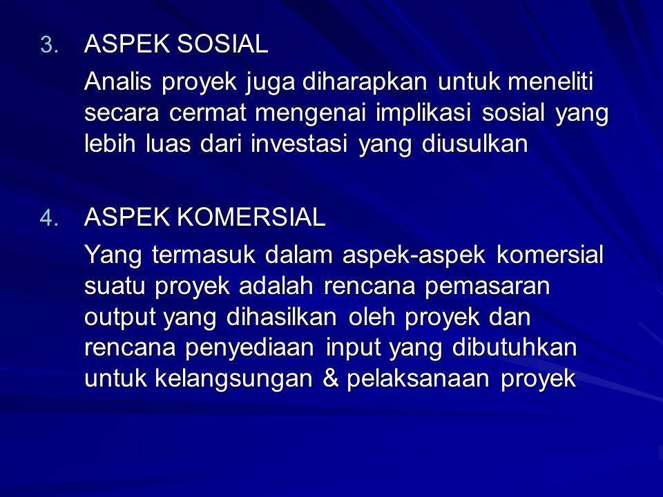 3. ASPEK SOSIAL Analis proyek juga diharapkan untuk meneliti secara cermat mengenai implikasi sosial yang lebih luas dari investasi yang diusulkan 4.