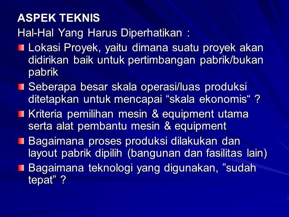 ASPEK TEKNIS Hal-Hal Yang Harus Diperhatikan : Lokasi Proyek, yaitu dimana suatu proyek akan didirikan baik untuk pertimbangan pabrik/bukan pabrik Seberapa besar skala operasi/luas produksi ditetapkan untuk mencapai skala ekonomis .