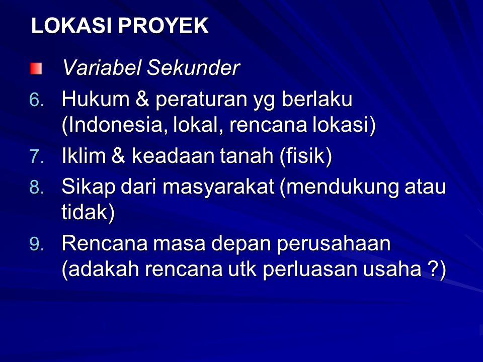 LOKASI PROYEK Variabel Sekunder 6. Hukum & peraturan yg berlaku (Indonesia, lokal, rencana lokasi) 7. Iklim & keadaan tanah (fisik) 8. Sikap dari masy