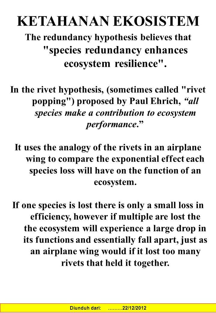 KETAHANAN EKOSISTEM The redundancy hypothesis believes that