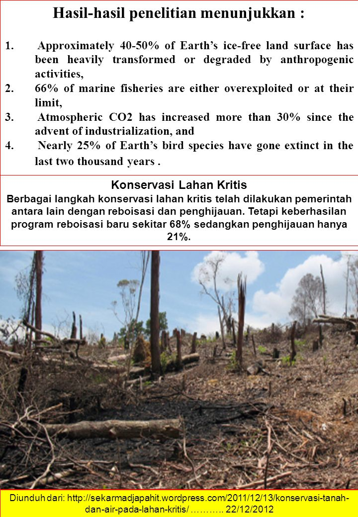 Hasil-hasil penelitian menunjukkan : 1. Approximately 40-50% of Earth's ice-free land surface has been heavily transformed or degraded by anthropogeni