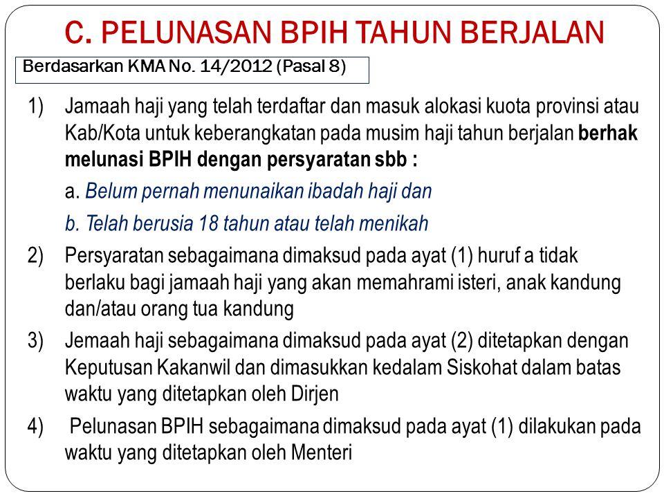 Berdasarkan KMA No. 14/2012 (Pasal 8) 1)Jamaah haji yang telah terdaftar dan masuk alokasi kuota provinsi atau Kab/Kota untuk keberangkatan pada musim