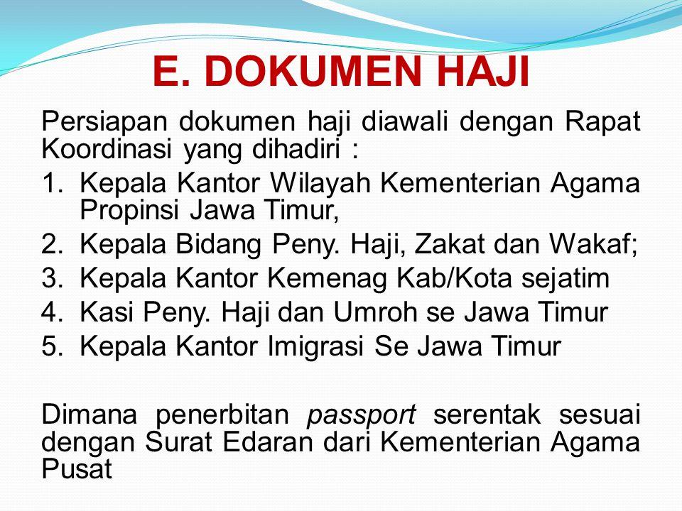 E. DOKUMEN HAJI Persiapan dokumen haji diawali dengan Rapat Koordinasi yang dihadiri : 1.Kepala Kantor Wilayah Kementerian Agama Propinsi Jawa Timur,