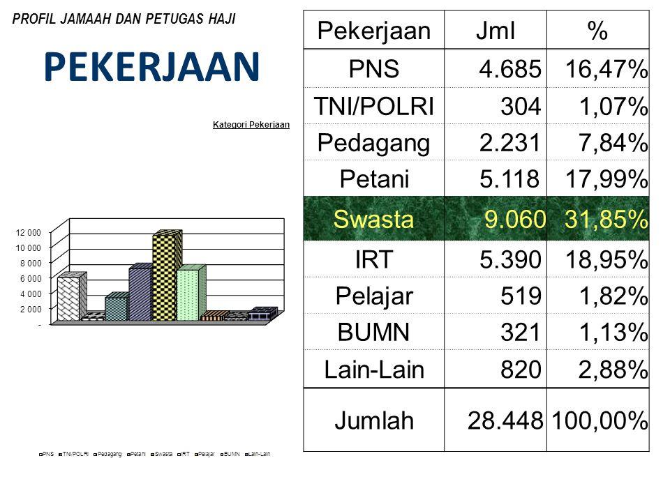 PEKERJAAN PekerjaanJml% PNS 4.68516,47% TNI/POLRI 3041,07% Pedagang 2.2317,84% Petani 5.11817,99% Swasta9.06031,85% IRT 5.39018,95% Pelajar 5191,82% B
