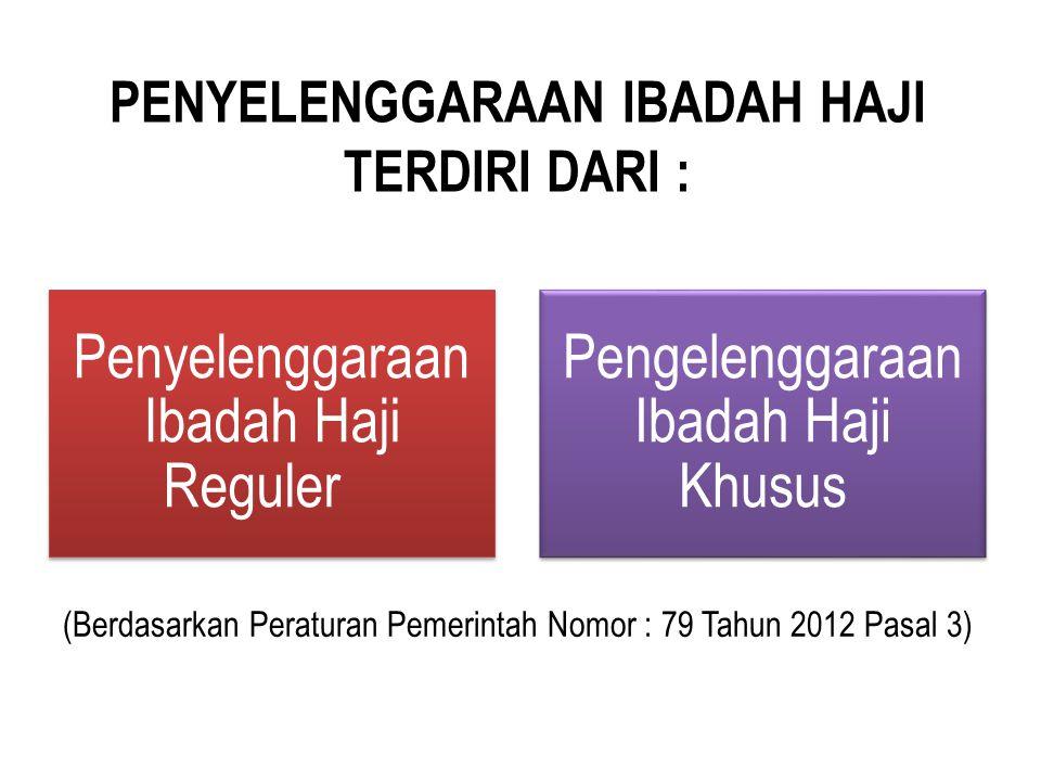 PENYELENGGARAAN IBADAH HAJI TERDIRI DARI : Penyelenggaraan Ibadah Haji Reguler Pengelenggaraan Ibadah Haji Khusus (Berdasarkan Peraturan Pemerintah No