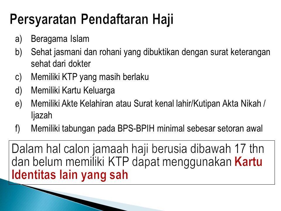 a)Beragama Islam b)Sehat jasmani dan rohani yang dibuktikan dengan surat keterangan sehat dari dokter c)Memiliki KTP yang masih berlaku d)Memiliki Kar