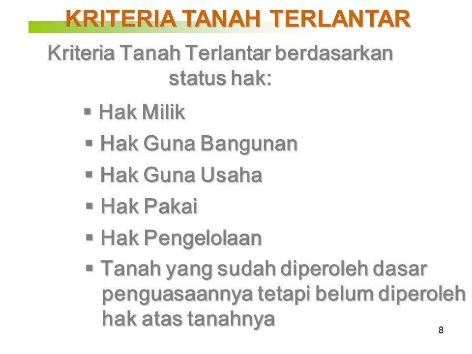 29 Skema Penertiban Tanah Terlantar yg Diharapkan: Kepala BPN Kakanwil BPN Prov.