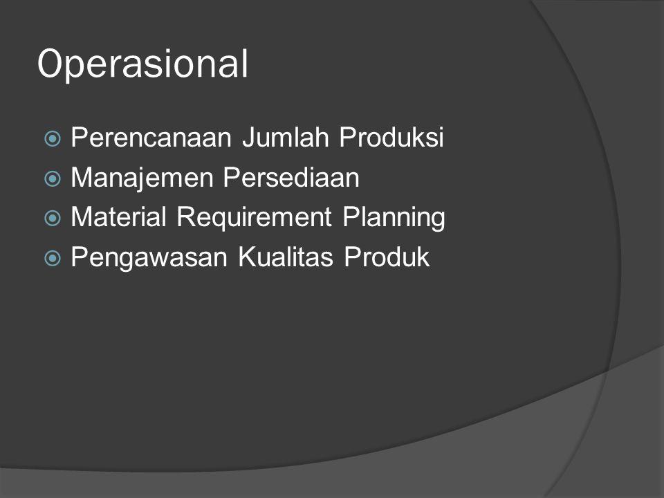 Operasional  Perencanaan Jumlah Produksi  Manajemen Persediaan  Material Requirement Planning  Pengawasan Kualitas Produk