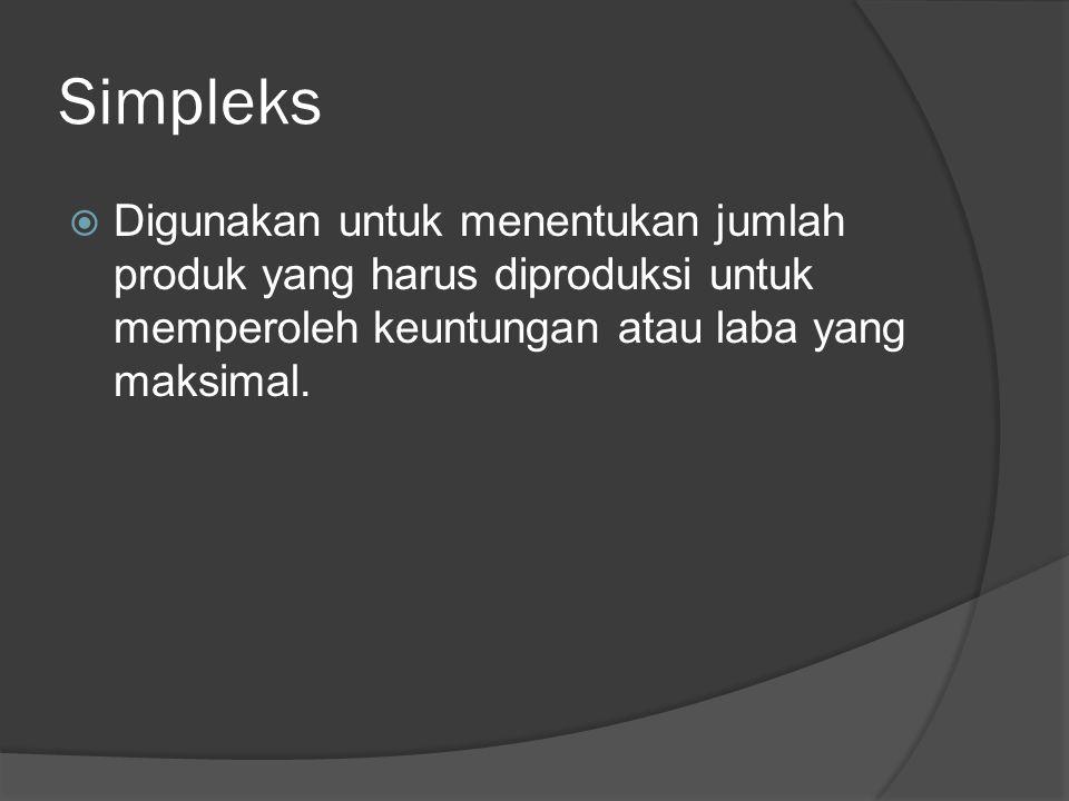 Simpleks  Digunakan untuk menentukan jumlah produk yang harus diproduksi untuk memperoleh keuntungan atau laba yang maksimal.