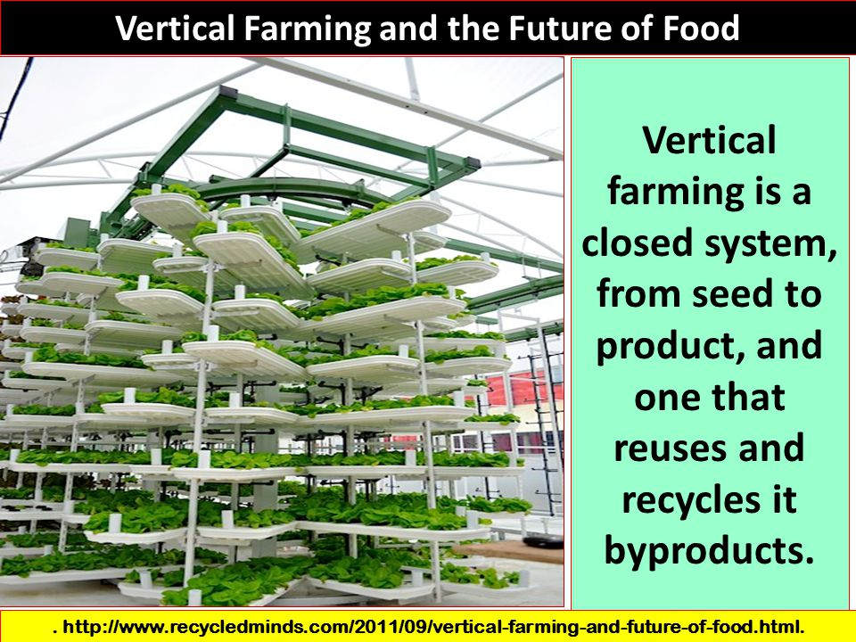 Vertical Farming and the Future of Food Vertical farming is a closed system, from seed to product, and one that reuses and recycles it byproducts.. ht