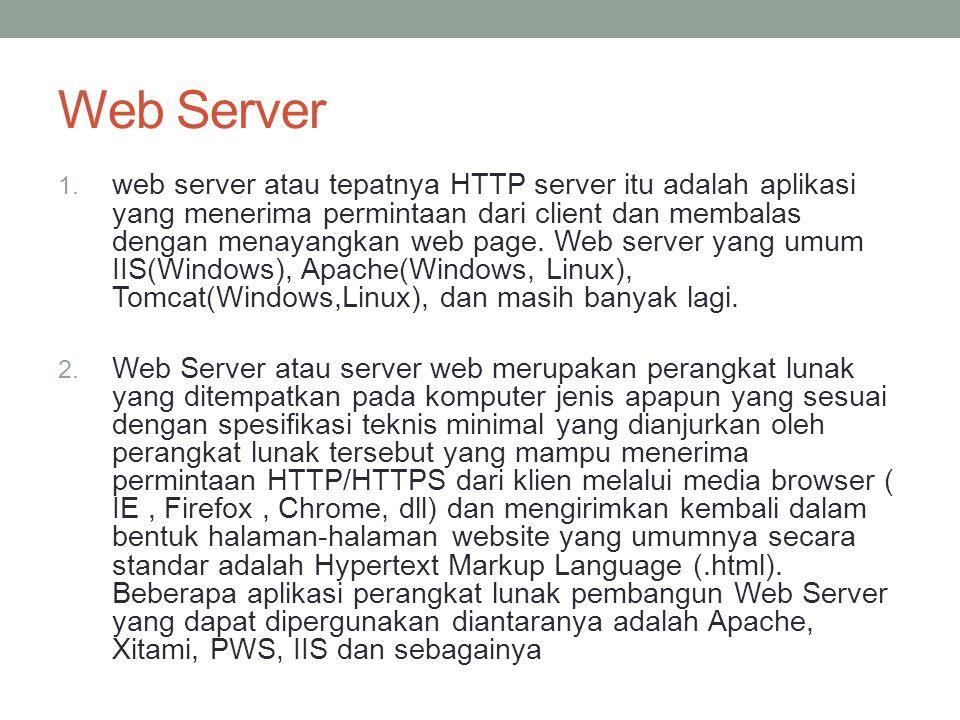 Web Server 1. web server atau tepatnya HTTP server itu adalah aplikasi yang menerima permintaan dari client dan membalas dengan menayangkan web page.