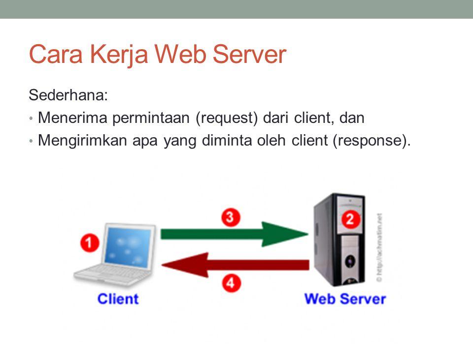 Cara Kerja Web Server Sederhana: Menerima permintaan (request) dari client, dan Mengirimkan apa yang diminta oleh client (response).
