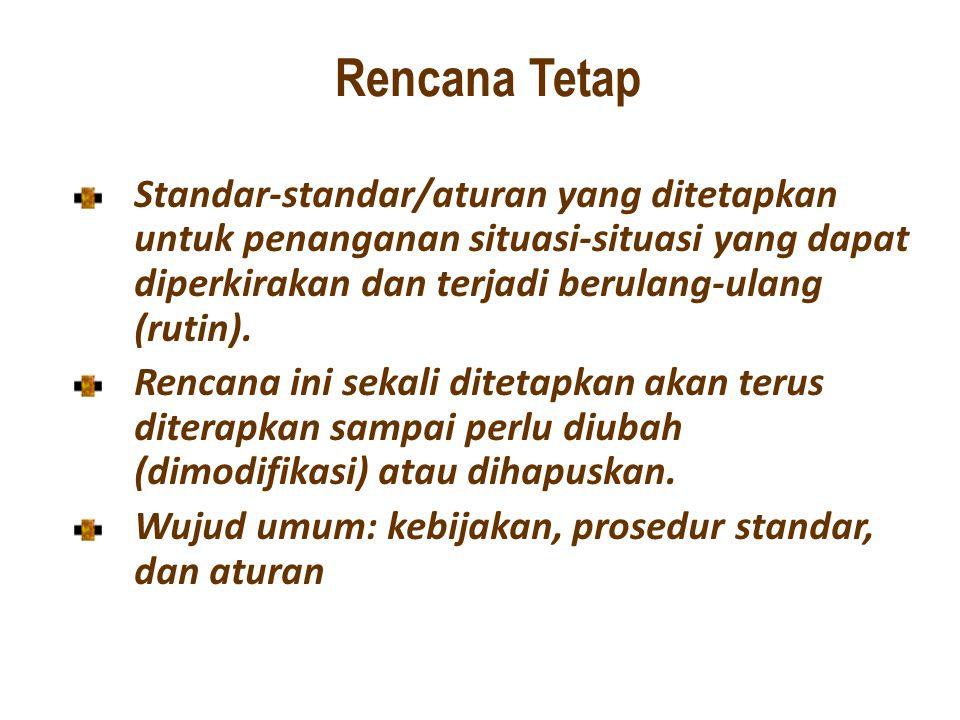 Rencana Tetap Standar-standar/aturan yang ditetapkan untuk penanganan situasi-situasi yang dapat diperkirakan dan terjadi berulang-ulang (rutin). Renc