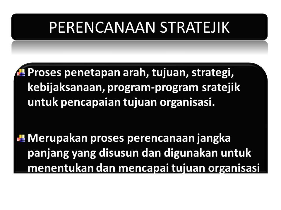 PERENCANAAN STRATEJIK Proses penetapan arah, tujuan, strategi, kebijaksanaan, program-program sratejik untuk pencapaian tujuan organisasi. Merupakan p