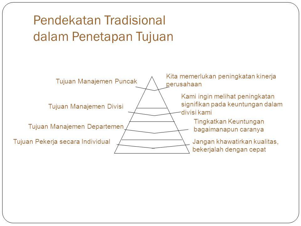 Pendekatan Tradisional dalam Penetapan Tujuan Tujuan Manajemen Puncak Tujuan Manajemen Divisi Tujuan Manajemen Departemen Tujuan Pekerja secara Indivi