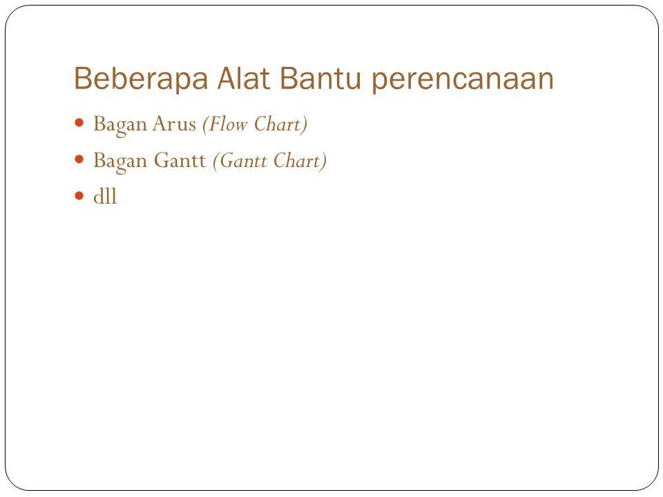Beberapa Alat Bantu perencanaan Bagan Arus (Flow Chart) Bagan Gantt (Gantt Chart) dll