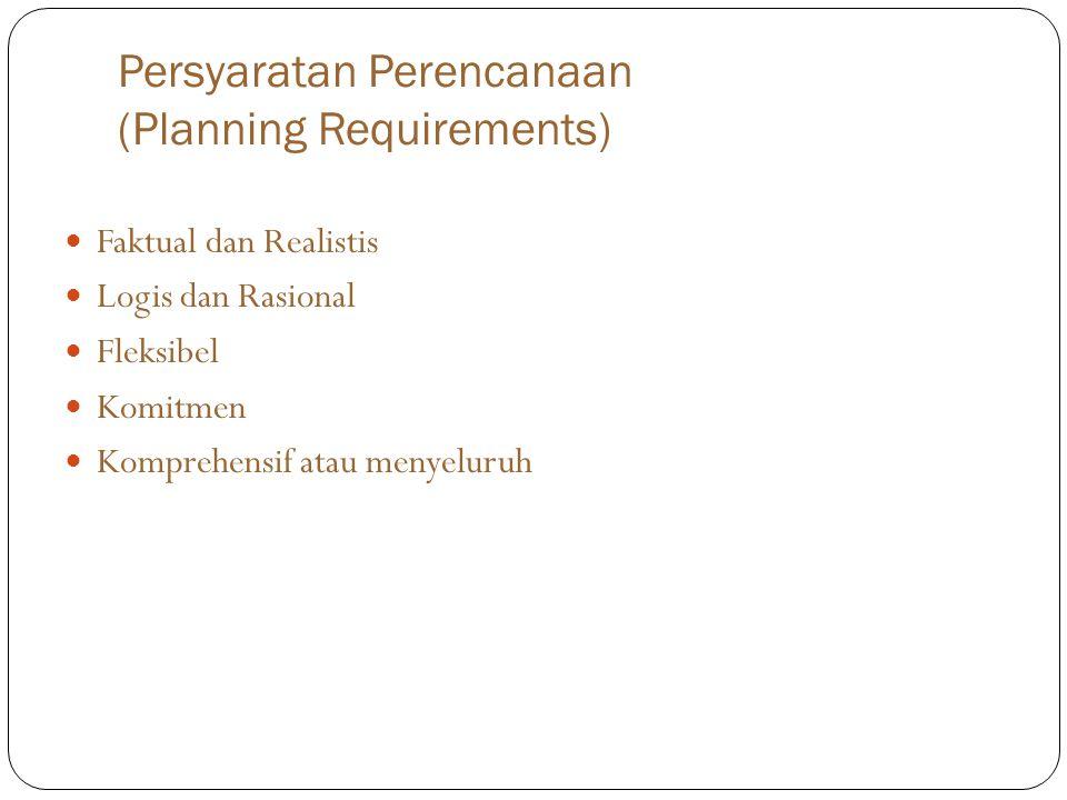 Persyaratan Perencanaan (Planning Requirements) Faktual dan Realistis Logis dan Rasional Fleksibel Komitmen Komprehensif atau menyeluruh