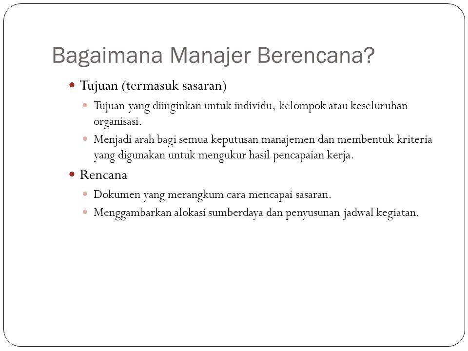 Bagaimana Manajer Berencana? Tujuan (termasuk sasaran) Tujuan yang diinginkan untuk individu, kelompok atau keseluruhan organisasi. Menjadi arah bagi