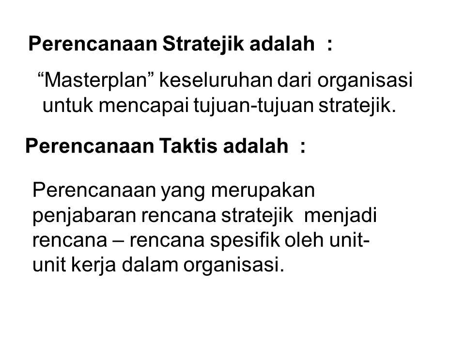 """Perencanaan Stratejik adalah : """"Masterplan"""" keseluruhan dari organisasi untuk mencapai tujuan-tujuan stratejik. Perencanaan Taktis adalah : Perencanaa"""
