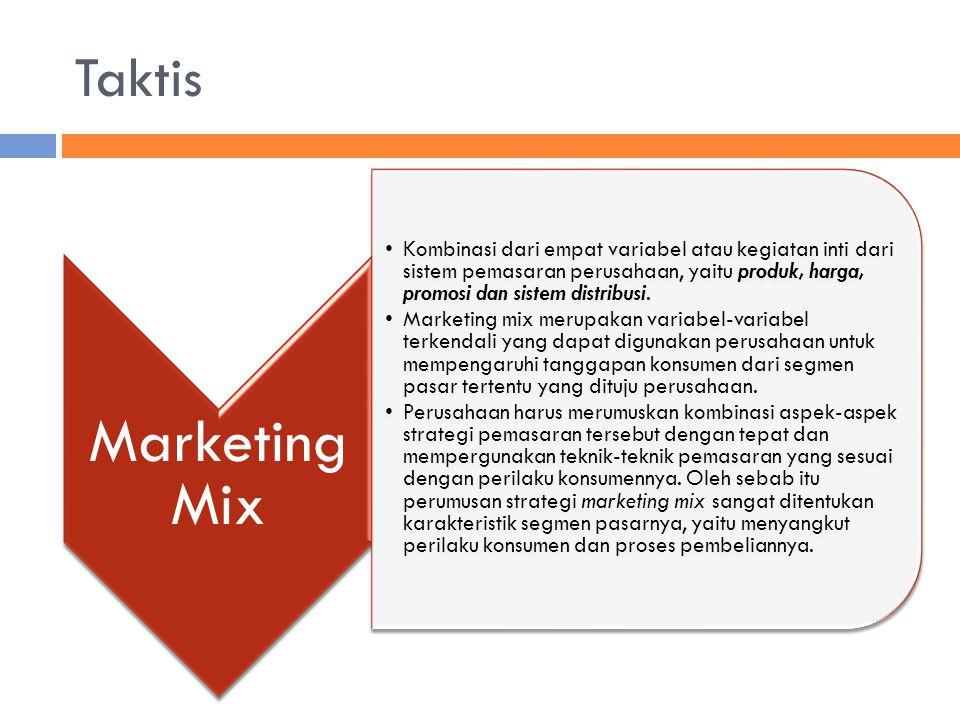 Taktis Marketing Mix Kombinasi dari empat variabel atau kegiatan inti dari sistem pemasaran perusahaan, yaitu produk, harga, promosi dan sistem distri