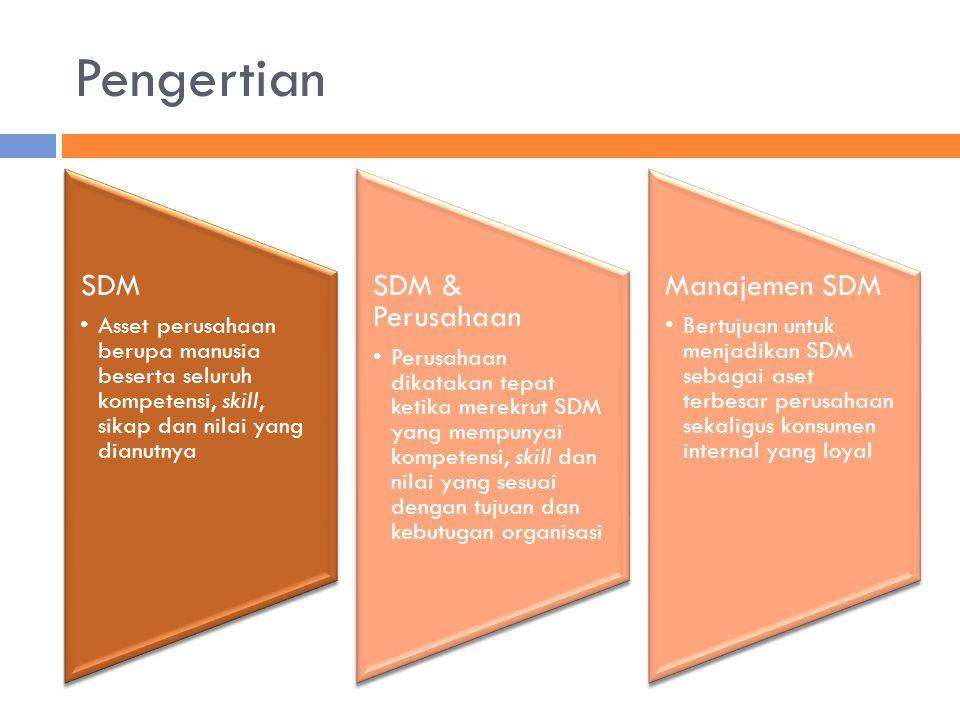 Pengertian SDM Asset perusahaan berupa manusia beserta seluruh kompetensi, skill, sikap dan nilai yang dianutnya SDM & Perusahaan Perusahaan dikatakan