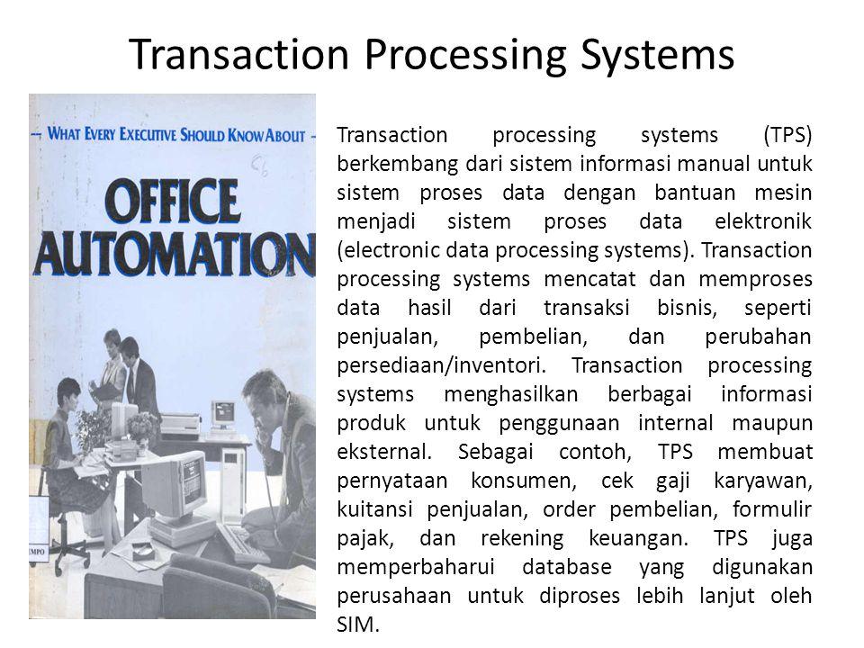 Pada dunia usaha proses-proses yang mengacu pada transaksi pertukaran barang atau uang atau jasa disebut dengan Transaction Processing System (TPS).