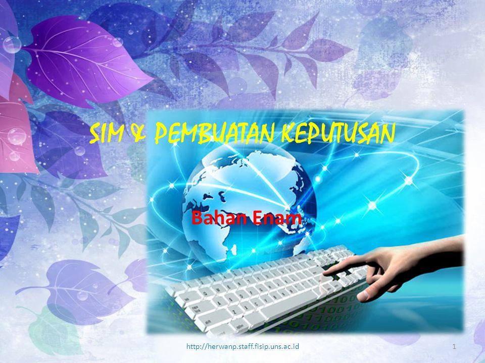 SIM & PEMBUATAN KEPUTUSAN Bahan Enam http://herwanp.staff.fisip.uns.ac.id1