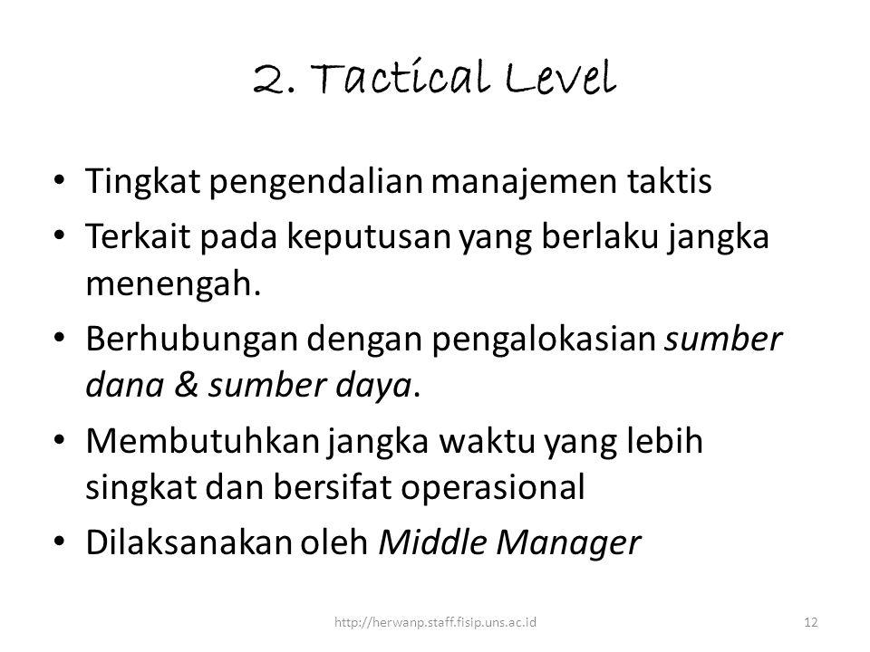 2. Tactical Level Tingkat pengendalian manajemen taktis Terkait pada keputusan yang berlaku jangka menengah. Berhubungan dengan pengalokasian sumber d