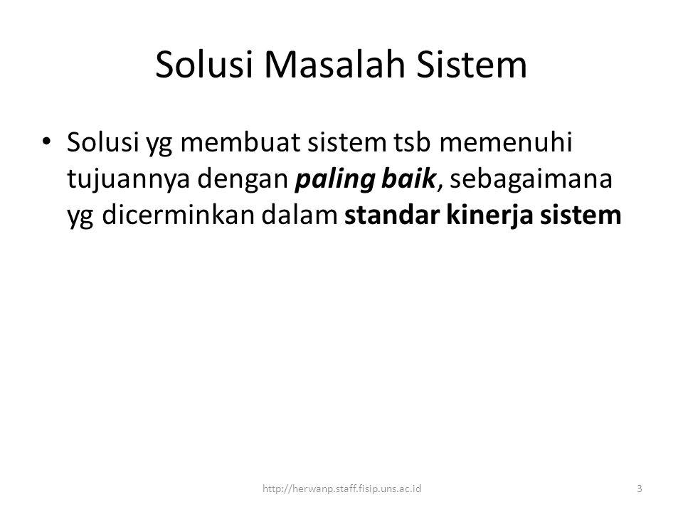 Solusi Masalah Sistem Solusi yg membuat sistem tsb memenuhi tujuannya dengan paling baik, sebagaimana yg dicerminkan dalam standar kinerja sistem 3htt
