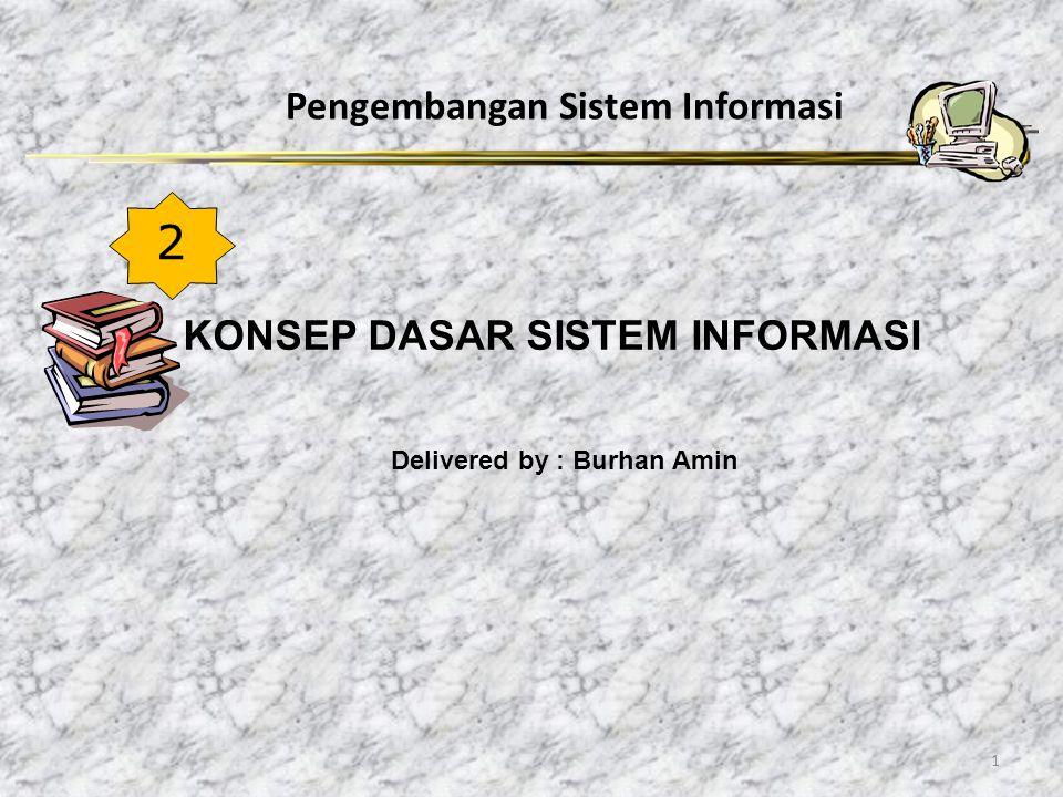 Pengembangan Sistem Informasi 1 KONSEP DASAR SISTEM INFORMASI 2 Delivered by : Burhan Amin