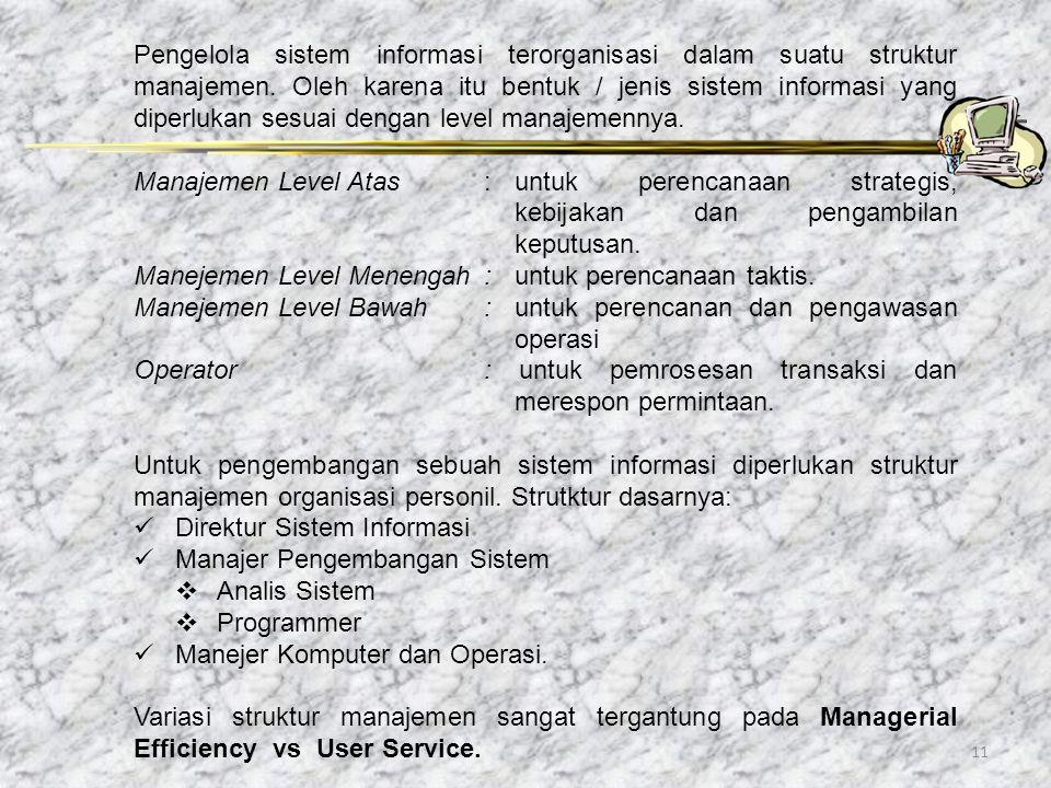 11 Pengelola sistem informasi terorganisasi dalam suatu struktur manajemen. Oleh karena itu bentuk / jenis sistem informasi yang diperlukan sesuai den