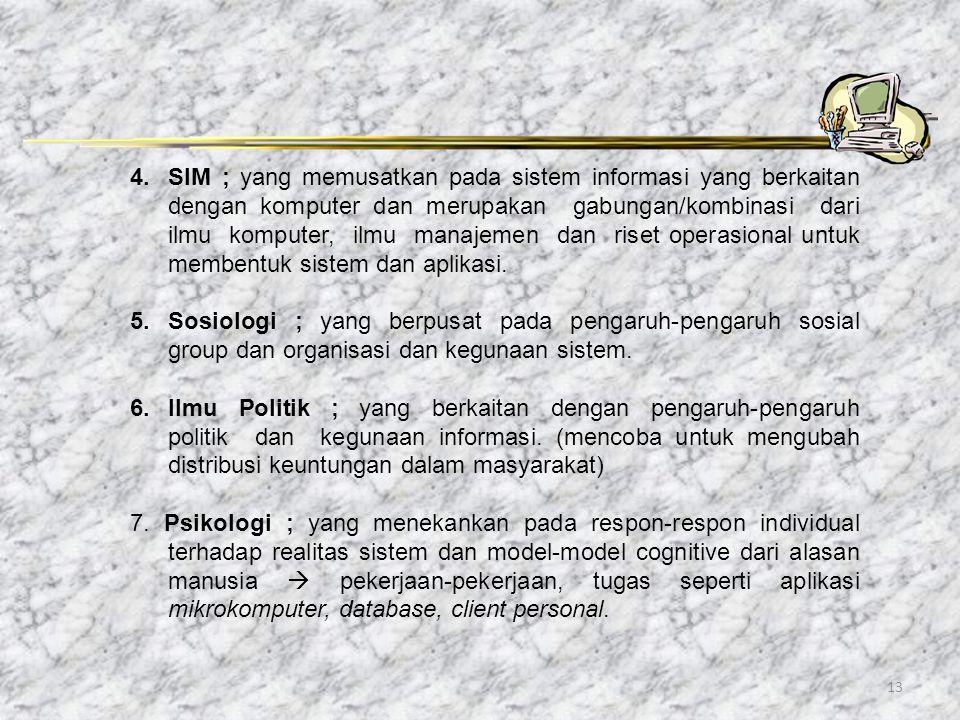 13 4.SIM ; yang memusatkan pada sistem informasi yang berkaitan dengan komputer dan merupakan gabungan/kombinasi dari ilmu komputer, ilmu manajemen da