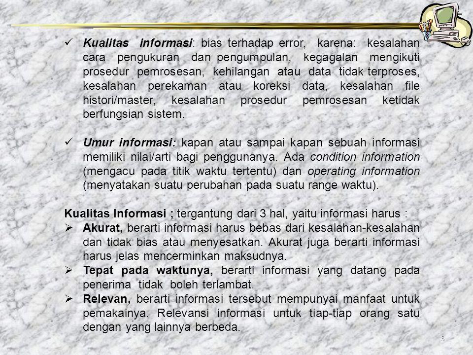3 Kualitas informasi: bias terhadap error, karena: kesalahan cara pengukuran dan pengumpulan, kegagalan mengikuti prosedur pemrosesan, kehilangan atau