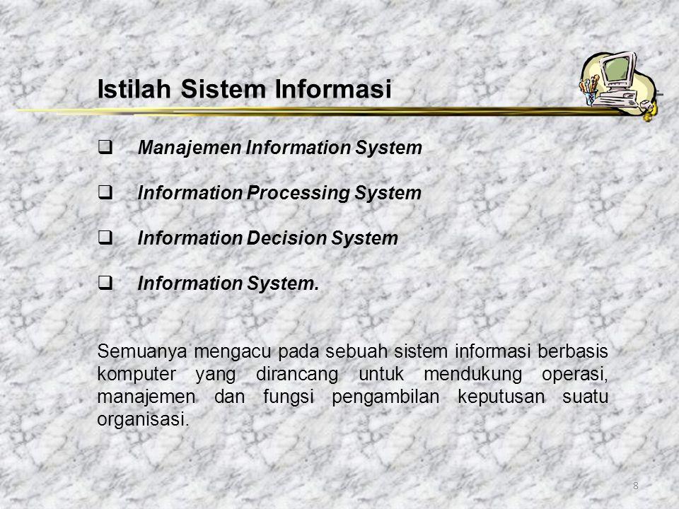 9 Komponen Fisik Sistem Informasi: Perangkat keras komputer: CPU, Storage, perangkat Input/Output, Terminal untuk interaksi, Media komunikasi data Perangkat lunak komputer: perangkat lunak sistem (sistem operasi dan utilitinya), perangkat lunak umum aplikasi (bahasa pemrograman), perangkat lunak aplikasi (aplikasi akuntansi dll).