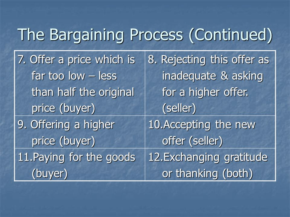 The Bargaining Process (Continued) 7.