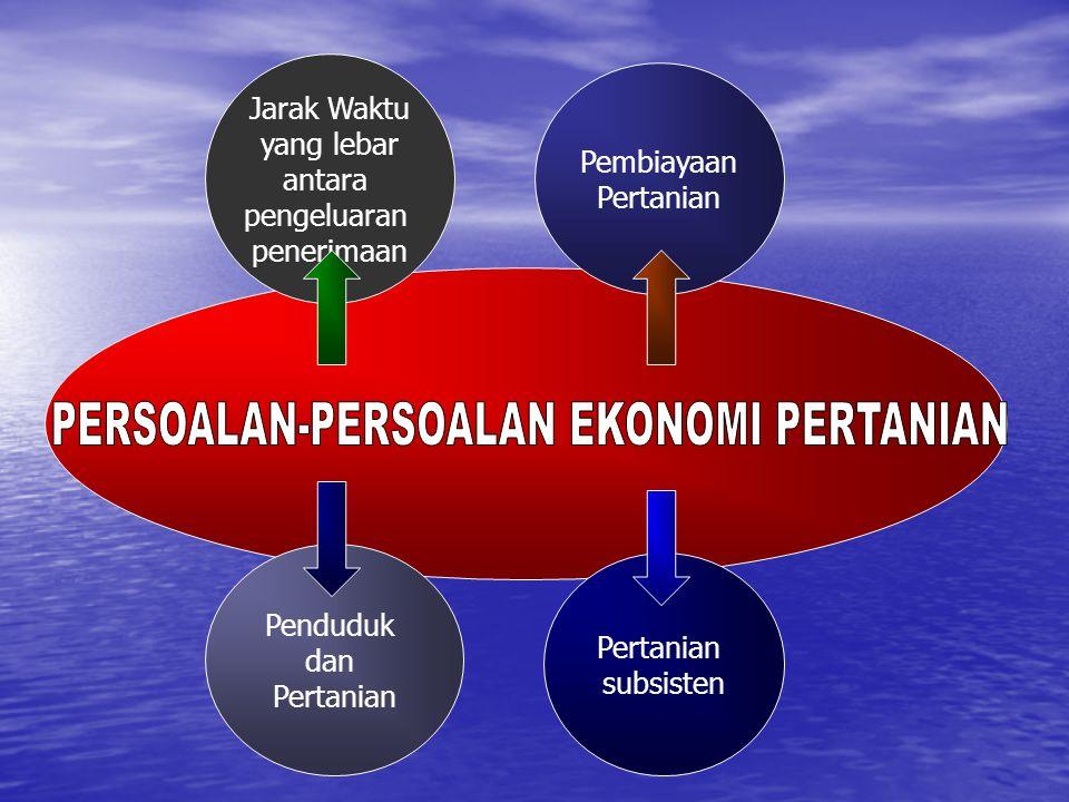 Mubyarto,1989 Jarak Waktu yang lebar antara pengeluaran penerimaan Pembiayaan Pertanian Penduduk dan Pertanian subsisten