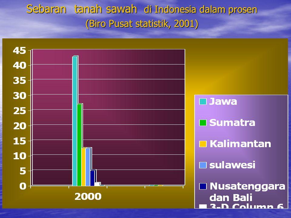 Sebaran tanah sawah di Indonesia dalam prosen (Biro Pusat statistik, 2001)
