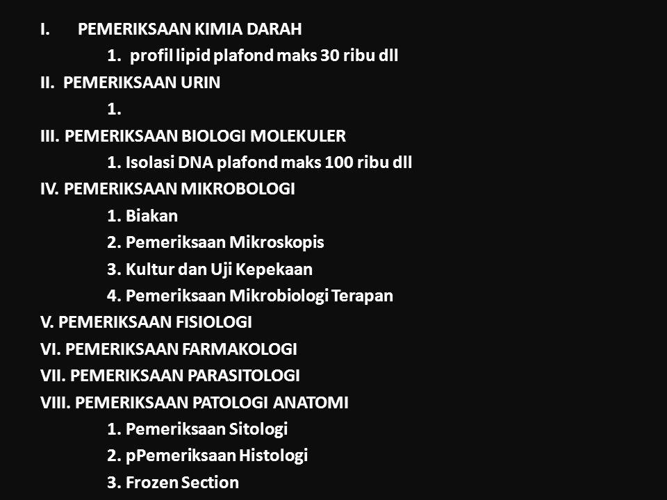 I.PEMERIKSAAN KIMIA DARAH 1. profil lipid plafond maks 30 ribu dll II. PEMERIKSAAN URIN 1. III. PEMERIKSAAN BIOLOGI MOLEKULER 1. Isolasi DNA plafond m