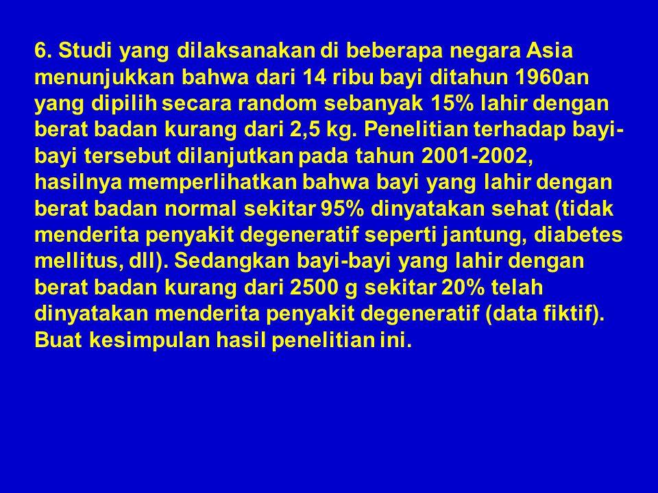 6. Studi yang dilaksanakan di beberapa negara Asia menunjukkan bahwa dari 14 ribu bayi ditahun 1960an yang dipilih secara random sebanyak 15% lahir de