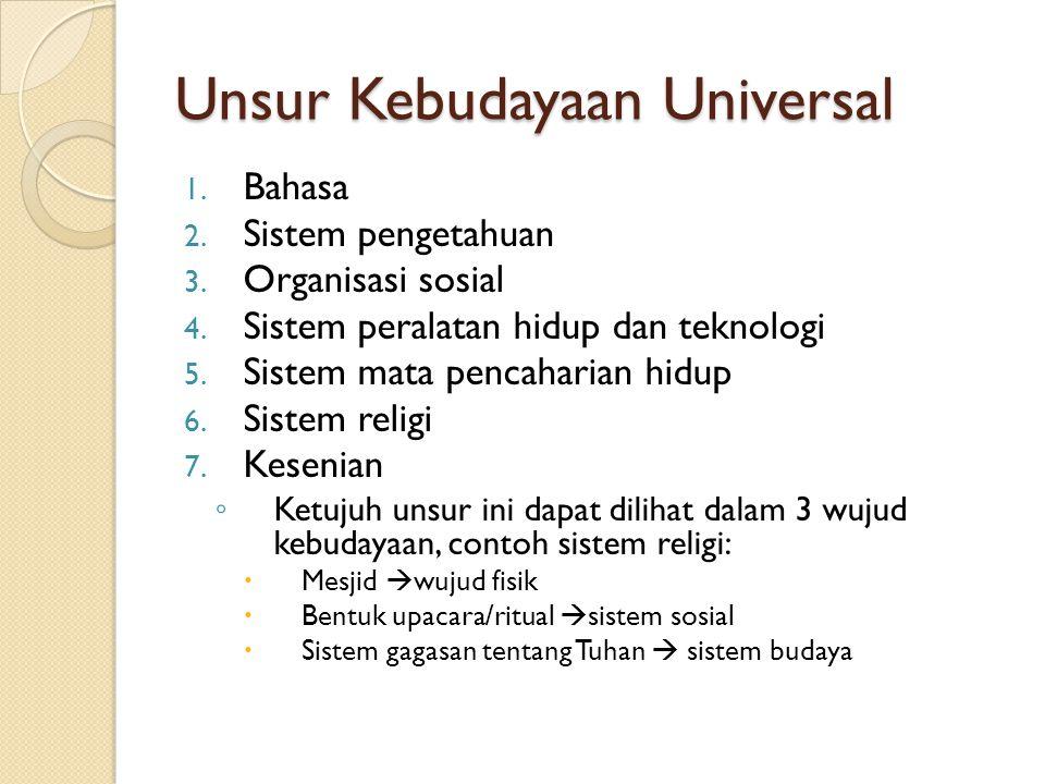 Unsur Kebudayaan Universal 1. Bahasa 2. Sistem pengetahuan 3. Organisasi sosial 4. Sistem peralatan hidup dan teknologi 5. Sistem mata pencaharian hid