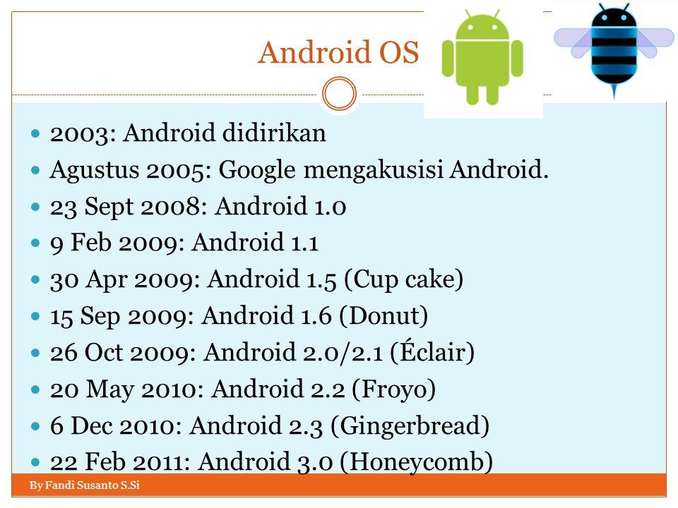 Android OS By Fandi Susanto S.Si Android didirikan oleh sebuah perusahaan kecil yang kemudian dibeli oleh Google Inc.