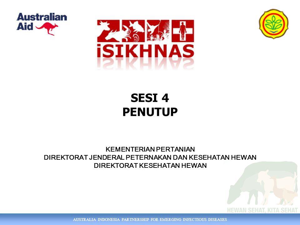 AUSTRALIA INDONESIA PARTNERSHIP FOR EMERGING INFECTIOUS DISEASES SESI 4 PENUTUP KEMENTERIAN PERTANIAN DIREKTORAT JENDERAL PETERNAKAN DAN KESEHATAN HEWAN DIREKTORAT KESEHATAN HEWAN