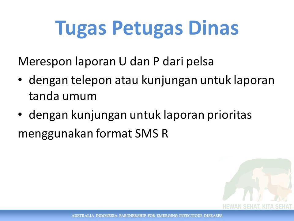 AUSTRALIA INDONESIA PARTNERSHIP FOR EMERGING INFECTIOUS DISEASES Tugas Petugas Dinas Merespon laporan U dan P dari pelsa dengan telepon atau kunjungan untuk laporan tanda umum dengan kunjungan untuk laporan prioritas menggunakan format SMS R