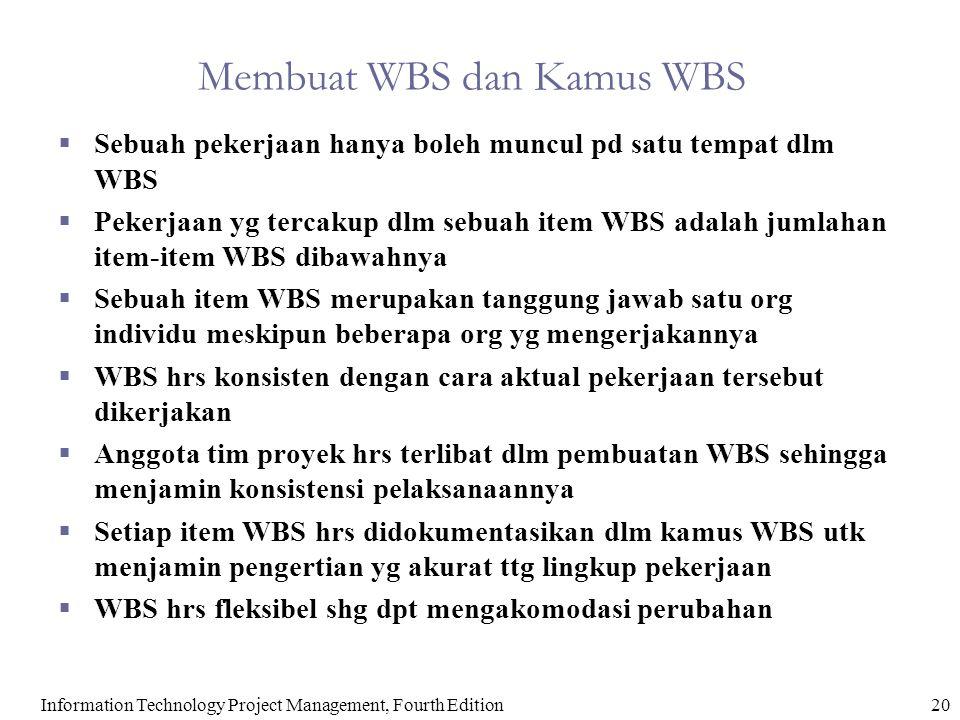 20Information Technology Project Management, Fourth Edition Membuat WBS dan Kamus WBS  Sebuah pekerjaan hanya boleh muncul pd satu tempat dlm WBS  P