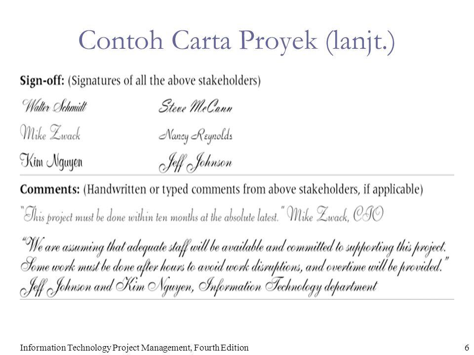 6Information Technology Project Management, Fourth Edition Contoh Carta Proyek (lanjt.)