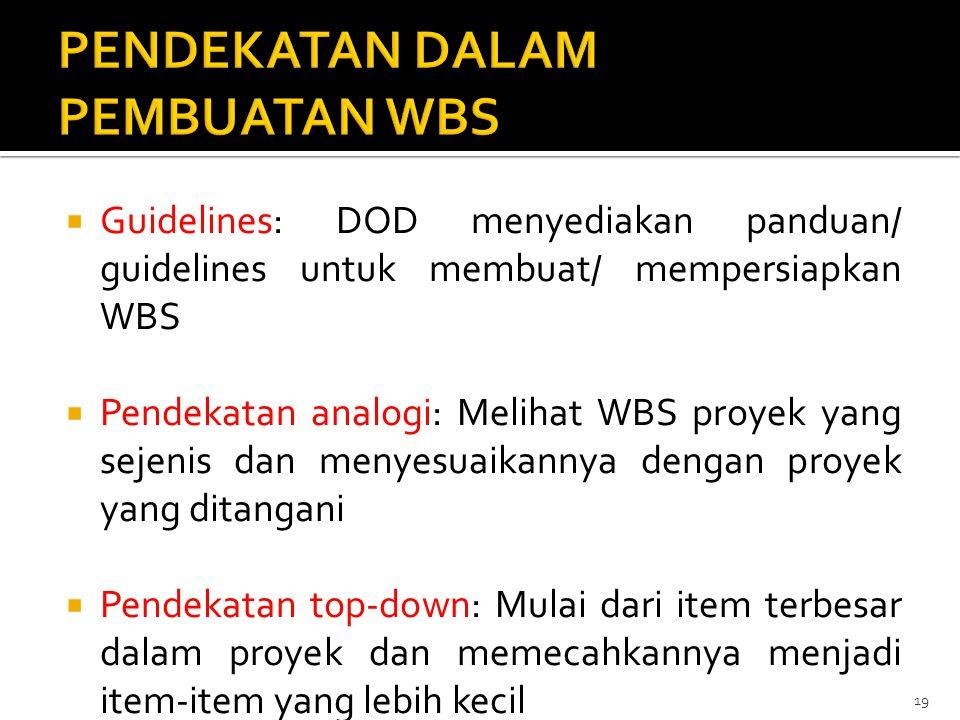  Guidelines: DOD menyediakan panduan/ guidelines untuk membuat/ mempersiapkan WBS  Pendekatan analogi: Melihat WBS proyek yang sejenis dan menyesuai