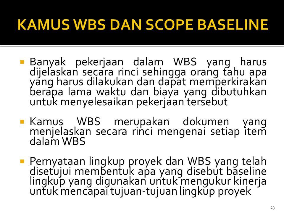  Banyak pekerjaan dalam WBS yang harus dijelaskan secara rinci sehingga orang tahu apa yang harus dilakukan dan dapat memperkirakan berapa lama waktu